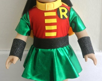 """Super Hero Type costume for 18"""" doll - possibly Girl Robin parody outfit"""
