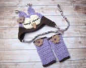Crochet Baby Hat, Baby Girl Owl Hat, Baby Girl Hat, Baby Legwarmers, Newborn Owl Hat, Infant  Hat, Baby Animal Hat, Purple, Baby Leg Warmers