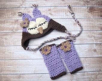 Baby Girl Sleepy Owl Set, Newborn Girl Costume, Infant Girl Photo Outfit, Newborn Owl Hat, Baby Girl Leg Warmers, Baby Girl Clothing, Purple