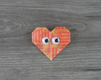 Yellow and Red Heart Pin // Googly Eyes // Wiggle Eyes