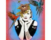 Art Deco Girl Print Photomontage Signed Mixed Media Altered Painted Photograph Tattoo Smoking