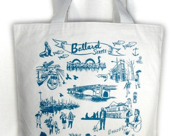Seattle Ballard Neighborhood Screen Print Canvas Tote Bag