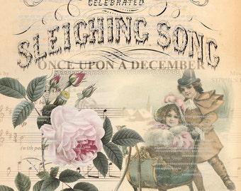 Pink rose Christmas Once upon a December Large digital download ECS buy 3 get one free