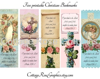5 Vintage style Christian Bookmarks Large digital download collage pink Roses Cross Bible verse buy 3 get one free ecs, svfteam