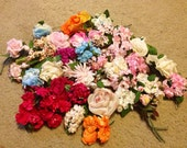 Large lot of vintage 1960's fake flowers for crafts or accessories