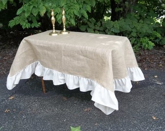 Ruffled Burlap Tablecloth Custom Tablecloth Ruffled Burlap Throw Tablecloth  Picnic Blanket Picnic Tablecloth French Country