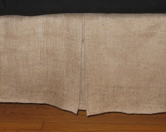 Extra Long TWIN Size NATURAL BURLAP Bed Skirt With Kick Pleat On Each Side