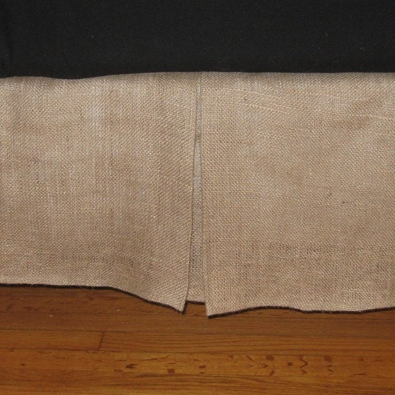 extra long twin size natural burlap bed skirt with kick pleat. Black Bedroom Furniture Sets. Home Design Ideas