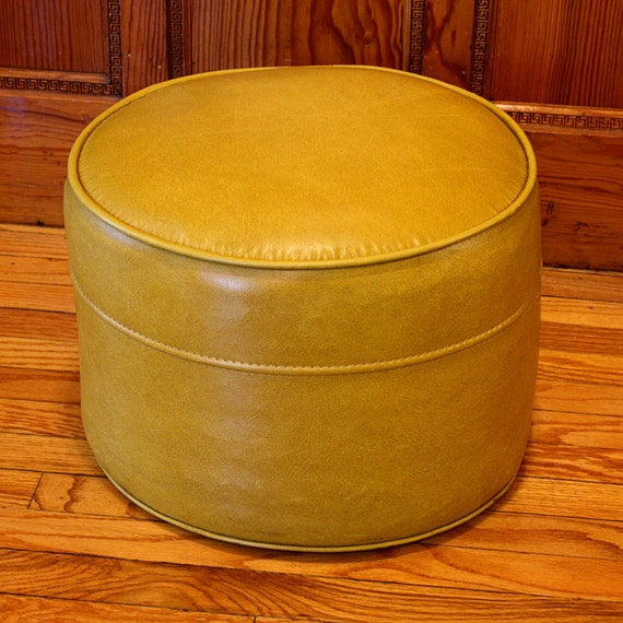 Vintage Foot Stool Hassock Ottoman Footrest Round