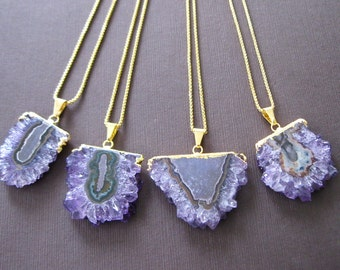 """Amethyst Stalactite Crystal Druzy Slice Gold Dipped Electroplated Pendant Necklace 20"""""""