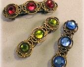 Victorian style Hair barrette accessory with crystals - 40mm small