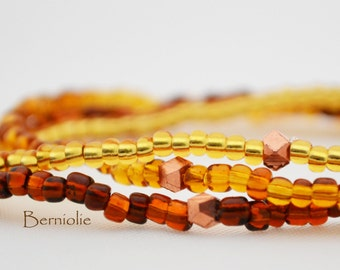 Beaded bracelet, brown and gold glass seedbeads, stretchy, 7 inch, S24
