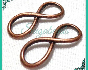 10 Copper Infinity Connector charms - Curved Eternity Connectors 24mm