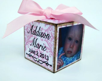 Personalized Baby's First Christmas Block Ornament in Pink Damask With Rhinestones Keepsake