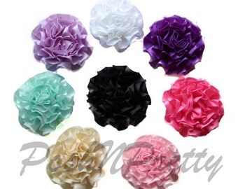 "3"" CARNATION Satin Single Ruffle flowers - Set of 5 - CHOOSE COLORS"