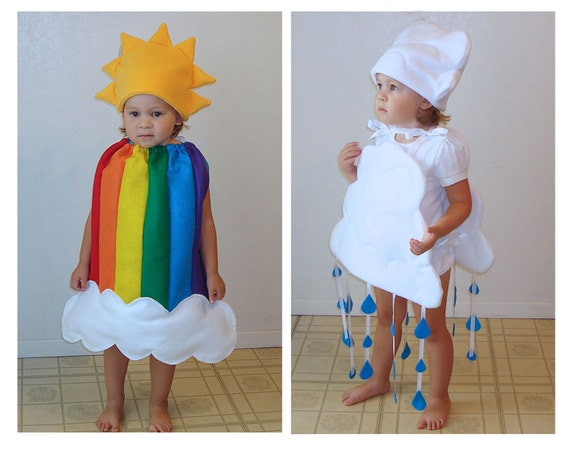 Twin Baby Rainbow and Cloud Costumes Halloween Twin Set Couples Group Newborn Infant Toddler Dress Up Purim Photo Props