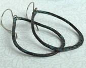 EcoFriendly Blue Copper Hoop Earrings Hammered in Teardrop Shape