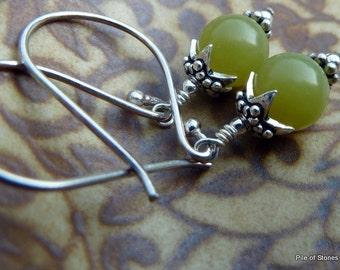 All Seasons* Stone & Sterling Earrings Earthy Apple Green Gemstone Jewelry Bali Silver and Sterling Silver Versatile Earrings