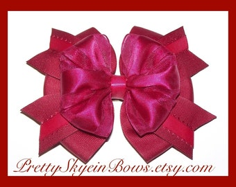 A Large Layered Boutique Hair Bow Clip in Burgundy