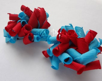 Red and Turquoise Korkers - Corker Curlies - No Slip Hair Clippies