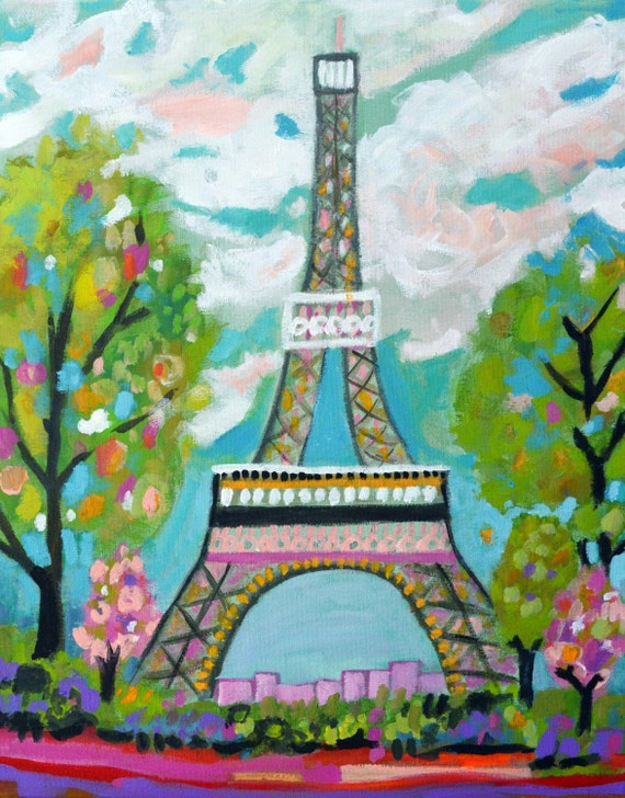 Abstract Eiffel Tower Painting Original by Karen Fields 16 x Eiffel Tower Painting Landscape