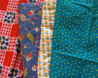 lot of vintage fabric pieces and yardage