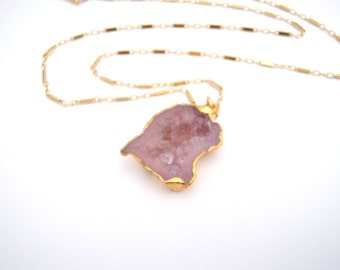 Geode Pink Druzy Pendant Necklace, Geode, 14k Gold Filled Bar Chain, Pink, Stone Pendant