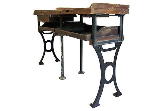 Antique Distressed Work Bench Vintage Cast Iron By Fabulousmess