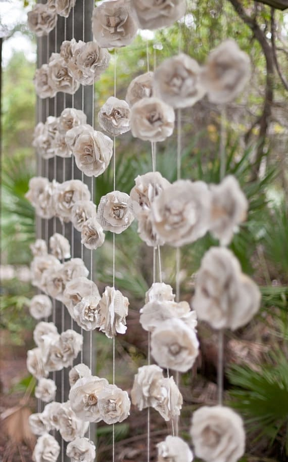 Curtain Of Garlands Paper Flowers