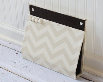 Large Wall Pocket, Magnet Board, File and Mail Holder - Beige Chevron