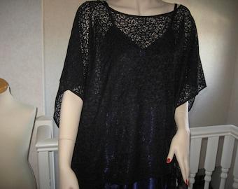 NEW Sequoia Gothic black Lace slouch Top,Poncho,Cape Rock,retro,Lagenlook,Lolita-ONE SIZE