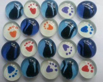 CAT  CATS Hand painted glass gems party favors mosaic tile Black cats on blue and paw prints