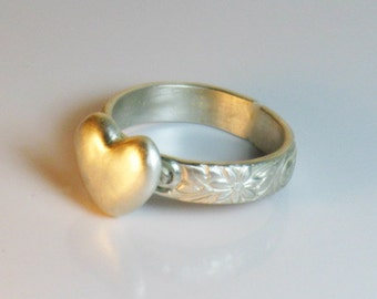 Sterling silver and fine silver, heart, statement, romantic ring, gift