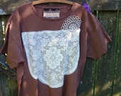 organic clothing t shirt plus size vintage lace eco friendly upcycled earth tones cocoa brown top 3X