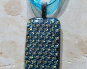 Fused Glass Pendant with Ribbon necklace: Ultra Bling