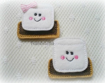 Smores Appliques, Set of 4 Smores Appliques, Embroidered Appliques
