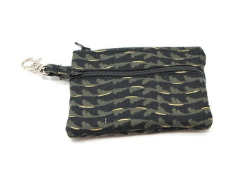 Small Zippered Wallet Change Purse Gadget Case  Black with Gold Waves
