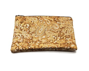 Cosmetic Case, Cord Case, Bridesmaid Gifts, All-Purpose Zipper Case, Gold Paisley