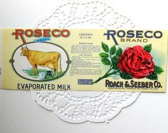 Vintage Evaporated Milk Label, Roseco Brand