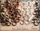 100 Pack - 5mm Jump rings - 21 Gauge Open Jump Rings-Silver Jump rings, Bronze Jump rings, Copper Jump rings, Gunmetal Jump Rings