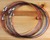 "10 Memory Wire Necklaces Coated ~ Mixed Colors ~ 18"" 1mm Choker~Lead Free~Stainless Steel Wire Necklace Cord Collar Choker Screw Clasp"