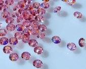 Vintage Swarovski 5x3mm Faceted Light Rose AB Crystal Round Sequin/Spacers (10)