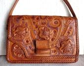 Vintage 60s Tooled Leather Purse Handbag Clutch Boho Southwest