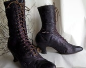 Gothic Victorian Leather Boots Lace up Purple Kidskin Halloween Decor Display