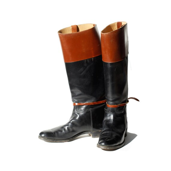 size 8 5 black and brown leather boots by