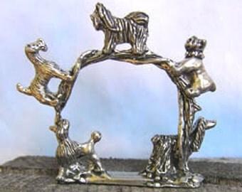 Set of 6 Pewter Dog Napkin Rings
