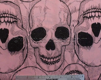 """Alexander Henry YORICK Pink and Black Cotton Quilt Fabric - Fat Quarter 18"""" long by 22"""" wide"""