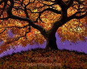 Tree art,  print, fall color, golden, leaves, autumn colors, painting, fallen leaves, branches, twisted limbs, old oak, gnarled tree, trunk