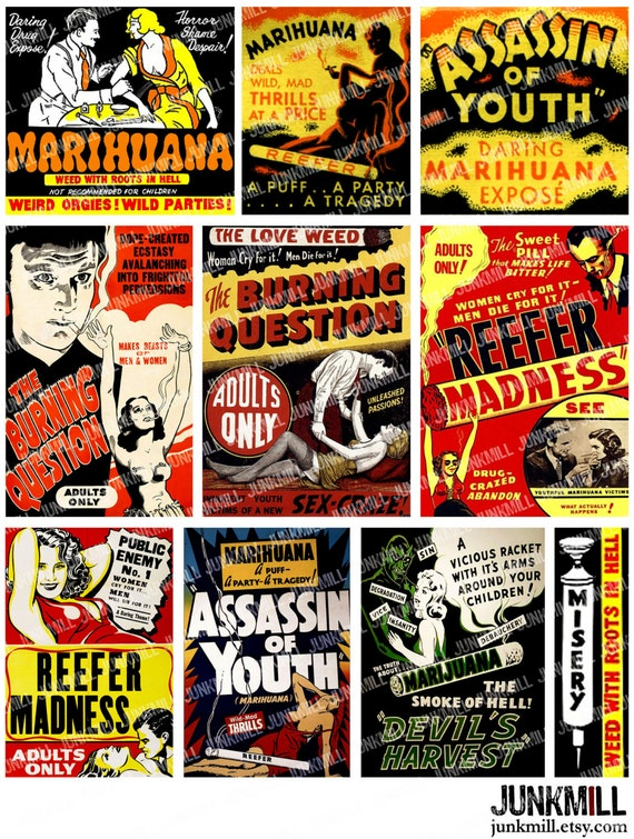 CRAZED YOUTH - Digital Printable Collage Sheet - Reefer Madness, 1930s Marijuana Weed Anti-Drug Propaganda Movie Posters, Instant Download