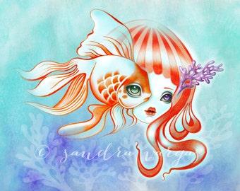Dreamland Muses, Jellyfish Girl & Goldfish 8 x 10 Art Print Illustration by Sandra Vargas